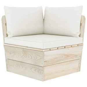 vidaXL Epicéa Imprégné Canapé d'angle Palette de Jardin avec Coussins Canapé d'Extérieur Meuble de Jardin Patio Salon Terrasse Intérieur