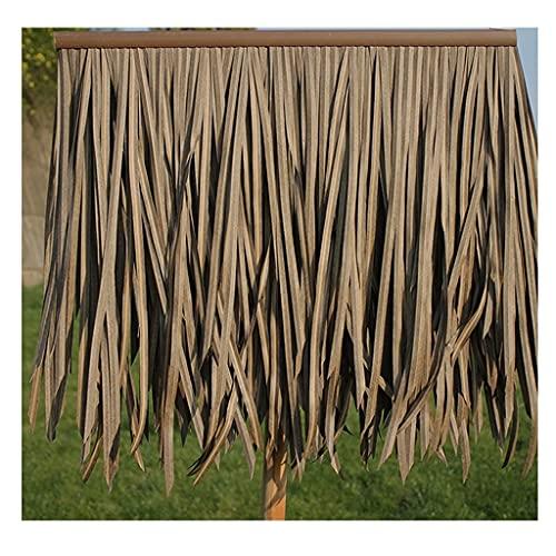 ZJGZDCP Simulation Artificielle tuile de chaume Faux Cheveux Paille PVC Plastique Aluminium Toit gouttière décoration de Toit Jaune foncé Paille 0.5X0.5m(1.64X1.64ft)(10pcs) (Size : 25pcs)