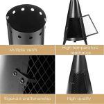 ARONTOME Chauffage à gaz pour terrasse – Cheminée d'extérieur – 114 cm – Four de terrasse – Cheminée au charbon de bois – Foyer d'intérieur pour la maison