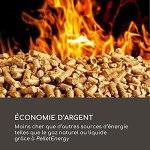 blumfeldt Heat Hunter – Braséro à granulés, extérieur, Puissance : 12,2 KW, Cylindre en Verre, Vue de la Flamme à 360 °, température: jusqu'à 499 ° C, capacité: 3-9 kg – Blanc