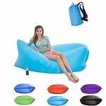 LAMCE Jouet de canapé de lit d'air de Parc d'herbe de Plage d'eau de canapé Gonflable Paresseux Portable extérieur Yellow