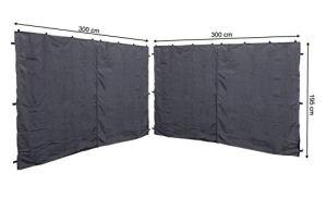 Quick Star 2 Panneaux latéraux avec Fermeture éclair 300x195cm pour Gazebo 3x3m Pavilion Sidewall Anthracite RAL 7012