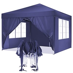 TOOLUCK 3x3m Tonnelle de Jardin Tonnelle Pliante Imperméable Tentes de Reception Gazebo de Jardin avec 4 Côtés, UV Protection (3x3m avec 4 Côtés, Violet)
