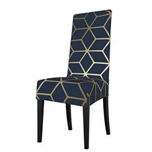 Uliykon Housse de chaise de salle à manger extensible, bleu marine, doré, élasthanne, élastique, amovible et lavable, pour salle à manger, cuisine, hôtel, cérémonie, fête
