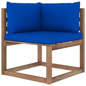 vidaXL Canapé d'angle Palette de Jardin avec Coussins Canapé d'angle de Patio Meuble de Terrasse Canapé d'Extérieur Arrière-Cour Bleu