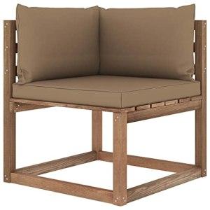 vidaXL Canapé d'angle Palette de Jardin avec Coussins Canapé d'angle de Patio Meuble de Terrasse Canapé d'Extérieur Arrière-Cour Taupe