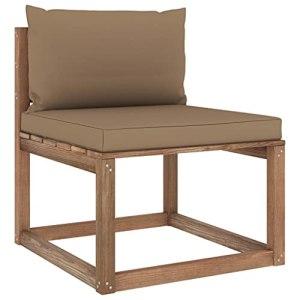 vidaXL Canapé de Milieu Palette de Jardin avec Coussins Canapé de Milieu de Patio Meuble de Terrasse Canapé d'Extérieur Arrière-Cour Taupe