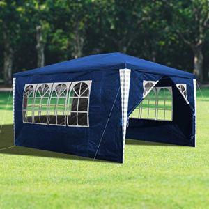 wolketon Tonnelle de Jardin 3x4m, Tente de Jardin Chapiteau Imperméable Gazebo Pavillon pour Exterieur, Pavillon Protection UV Tonnelle de jarden avec 4 Parois Latérales