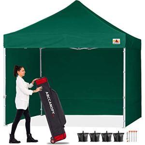 ABCCANOPY 18+ Couleurs 2,4m par 2,4m EZ Pop Up Auvent Tente Commercial Instant Jardin avec 4Panneaux latéraux Amovibles et Sac à roulettes et Sac de 4x Poids 8ft by 8ft forestgreen