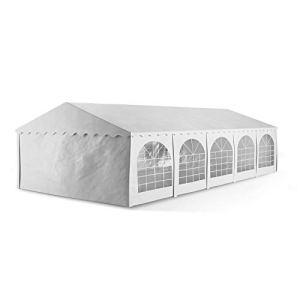Blumfeldt Sommerfest – Tente de jardin pour garden party – 5x10m – parois en PVC étanche 500g/m² – difficilement inflammable – structure en tubes d'acier – parois amovibles pour faire circuler l'air , blanc