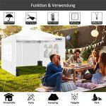 Cobizi Tonnelle 3x3m Tente Pliante imperméable Tonnelle de Jardin Gazebo Pliable Pavillon de Jardin Tente de Reception avec Purgeur d'air, 4 Côtés, 4 Sacs de Poids(3 x 3 M, Blanc)