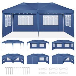 HOTEEL 3x6m Tonnelles Jardin Tente de Reception Imperméable Tonnelle Pliante Pavillon de Jardin avec 6 Côtés, Résistant aux UV (3×6 avec 6 Côtés, Bleu)