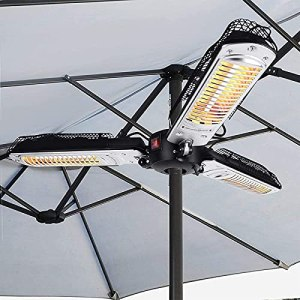 JTDSQDC Chauffage Radiant Suspendu,Extérieur Infrarouge Parasol Chauffant Protection Ip34 Protection Contre Le Renversement 3 Niveaux De Température(650w/1300w/2000w),Noir