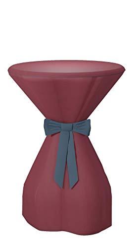 Sensalux Housse pour table mange-debout en tissu non-tissé Effet lotus Couleur et taille au choix, 100 % polypropylène, Ruban : bleu océan., Bordeaux, 70-80cmØ