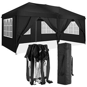 TOOLUCK Tonnelle Pliante 3x6m Tonnelle de Jardin Imperméable Tente Reception Pavillon de Jardin avec 6 Côtés (3×6 M, Noir)