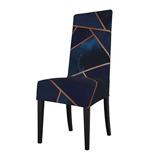 Uliykon Housse de chaise de salle à manger extensible, bleu marine et cuivre Geo Spandex élastique amovible et lavable Housse de protection pour salle à manger, cuisine, hôtel, cérémonie, fête