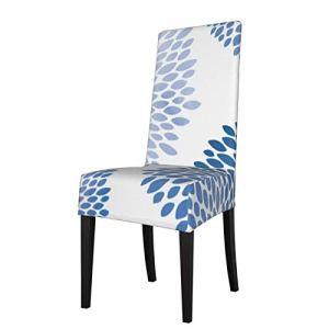 Uliykon Housse de chaise de salle à manger extensible, moderne, motif pétales de fleurs bleues, élasthanne, élastique, amovible et lavable, pour salle à manger, cuisine, hôtel, cérémonie, fête