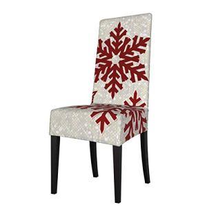 Uliykon Housse de chaise de salle à manger extensible, motif flocons de neige rouge étincelant, en élasthanne, élastique, amovible et lavable, pour salle à manger, cuisine, hôtel, cérémonie, fête