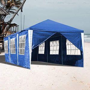Vingo Pavillon de jardin étanche avec 4 parois latérales pour fêtes, festivals, stands d'exposition 3×9 m mit 8 Seitenteilen bleu