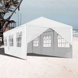 VINGO Tonnelle de jardin étanche – Blanc – 3 x 9 m – Tente de réception stable avec 8 parois latérales – Bâche en polyéthylène pour jardin, festival, fête