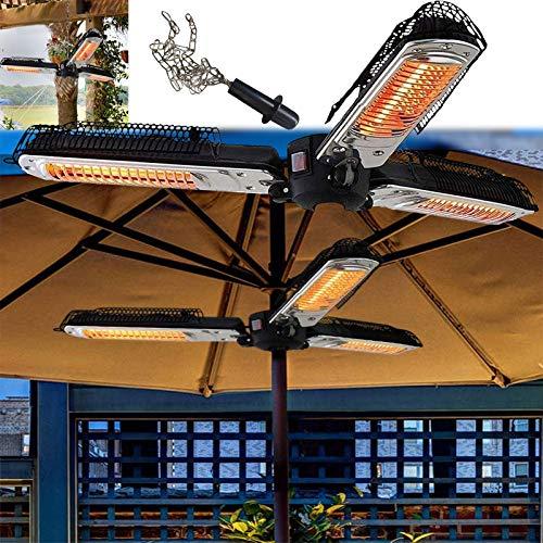 WANGXIAO Chauffage Radiant Extérieur,Parasol Chauffant Commercial Facile a Monter 3 Niveaux De Température(650w/1300w/2000w),Convient pour L'intérieur Et L'extérieur,Withchain