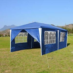 wolketon Tonnelle de Jardin 3x6m Tente de Jardin Chapiteau Imperméable Gazebo Pavillon pour Exterieur, Pavillon Protection UV Tonnelle de jarden avec 6 Parois Latérales