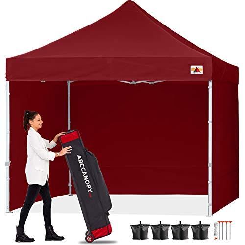 ABCCANOPY 18+ Couleurs 2,4m par 2,4m EZ Pop Up Auvent Tente Commercial Instant Jardin avec 4Panneaux latéraux Amovibles et Sac à roulettes et Sac de 4x Poids 8ft by 8ft Bordeaux