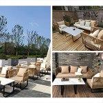 Canapé de Jardin Meubles d'extérieur, canapé-rotin modulaire, adapté aux Ensembles de Dialogue dans des cafés et des Restaurants (Color : Style 13)