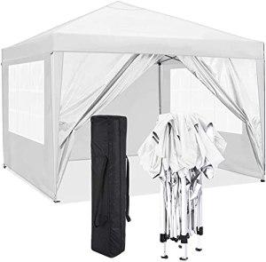 CAROMA Tonnelle de Jardin Tonnelle Pliante 3×3 m Chapiteau Pliable Gazebo Pliant Tente de Reception (Blanc, 3 x 3 m avec Parois Latérales)