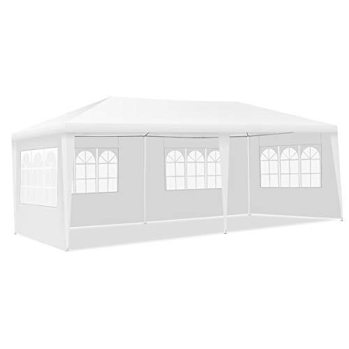 GOPLUS 3x9M /3x6M Tonnelle Tente de Jardin avec Fenêtres,Tente de Réception Protection Contre Soleil et Pluie,Chapiteau Pliable Gazebo Pliant pour Événement Bière Fête Camping (3X6M, 4 Bâches)