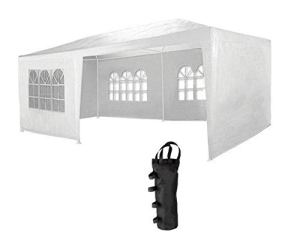 MaxxGarden Marquee 3x6m | UV 50 + | Hydrofuge | 18m² | pavillon, Tente de Jardin, chapiteau ou tonnelle du Festival | 6 parois enroulables | 18 fenêtres | Blanc + 4 x Sacs de Sable