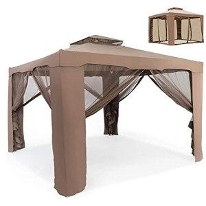 Screen magnifier Tonnelle à 2 étages en tissu et acier résistant à l'eau avec parois latérales en maille zippées, 3 x 3 m, marron
