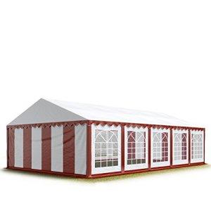 TOOLPORT 5×10 m Tente de réception/Barnum Rouge-Blanc Toile de Haute qualité env. 500g/m² PVC