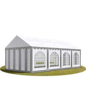 TOOLPORT Tente Barnum de Réception 4×8 m ignifugee Bâches PVC env. 500g/m² Gris-Blanc Cadre de Sol Jardin