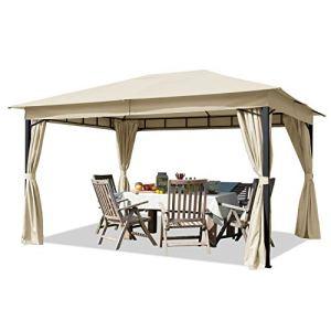 TOOLPORT Tonnelle de Jardin 3×4 m pavillon, bâche de Toit env. 180g/m² Tente de Jardin avec 4 bâches de côté Champagne Tente de réception