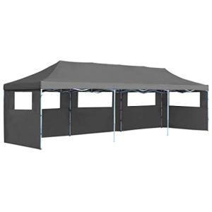vidaXL Tente de Réception Pliable 5 Parois 3×9 m Anthracite Pavillon Tonelle