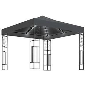 vidaXL Tonnelle avec Guirlande Lumineuse Belvédère de Jardin Pavillon d'Extérieur Tente de Réception Chapiteau Barbecue 3×3 m Anthracite Tissu