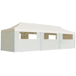 VIENDADPOW Vie en extérieur Tente de réception Pliable avec 8 parois 3×9 m Blanc cassé