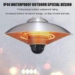 VIY Parasol Chauffant Suspendu Infrarouge Télécommande Chauffage électrique de terrasse à Halogène 2100W IPX4 Radiateur Réglable Jardin/Patio/TenteIntérieur