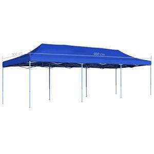 Festnight Tente de Reception Tente de Jardin chapiteau Jardin Résistance aux UV et à l'eau en métal tonnelle Pliable 3×9 m Bleu