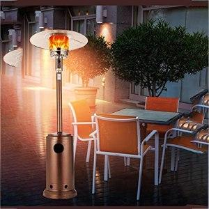 Garden Parasol Chauffant – Chauffage Externe Vertical en Acier Inoxydable avec 13000 W en Noir, Chauffage de Terrasse avec Support Réglable en Hauteur Et Protection Anti-Basculement