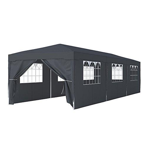 Paramondo Tonnelle de Jardin 3 x 9 m INCL. 1x Porte latérale 7X fenêtre latérale, Anthracite