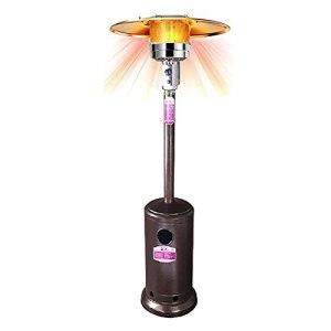 QMZDXH Parasol chauffant au propane avec roues – Bronze – 48 000 BTU – Chauffage de terrasse à poser sur pied – Pour terrasse, jardin et porche