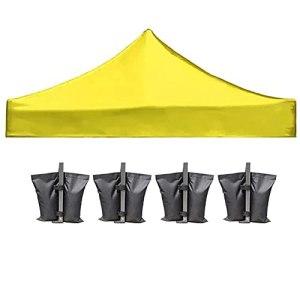 Toile De Toit Toit De Chapiteau 3X3m Toile De Rechange pour Tonelle avec 4 Sacs De Sable Imperméable Jardin Terrasse Extérieur Protection Contre Le Soleil,Jaune