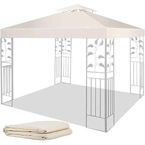 Toit De Rechange pour Pavillon De Pavillon | Toit De Chapiteau | Toit De Tonnelle 3X3m Imperméable Polyester Revêtement PU 200 G/M² Beige