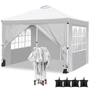 Tonnelle de Jardin Tente Pliante imperméable 3x3m Tente Reception avec 4 Sacs de Poids et 4 côtés