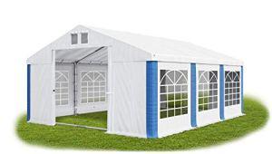 Das Company Tente de réception 3 x 6 m Blanc/bleu avec cadre de sol 560 g/m² PVC étanche Bâche solide Tente de jardin Summer Floor SD Gazebo