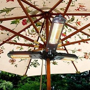 HAPPY-BELT Parasol chauffant électrique pour terrasse – Pliable – Infrarouge – Avec 3 panneaux de chauffage – Puissance réglable : 650/1300/1950 W