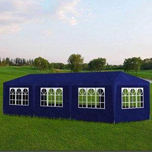 Xingshuoonline Tonnelle pliable avec 8 parois de 9 x 3 x 2,5 m Bleu Tonnelle Dimensions totales : 9 x 3 x 2,5 m (longueur x largeur x hauteur)