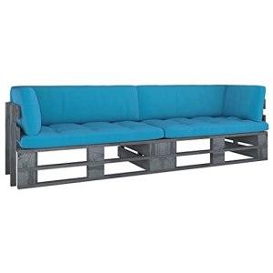 vidaXL Pin Imprégné de Gris Canapé Palette 2 Places avec Coussins Canapé d'Extérieur Sofa de Terrasse Meuble d'Extérieur Meuble de Terrasse Salon